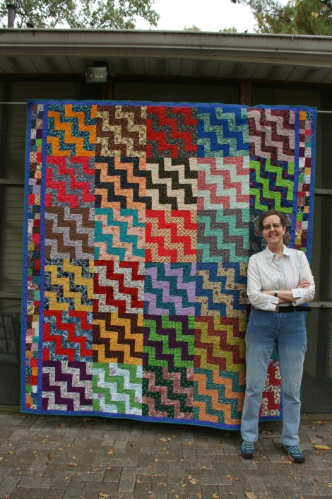 Jerri Stroud and free-form rail fence quilt