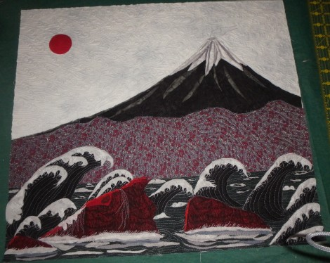 Collage of Mt. Fuji with waves