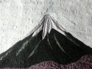 Closeup of Mt. Fuji to show quilting.