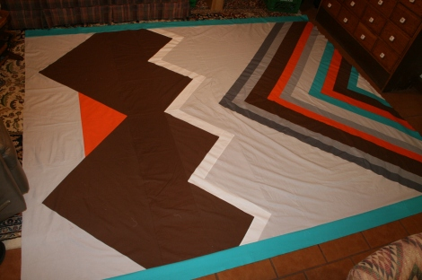 quilt top on floor